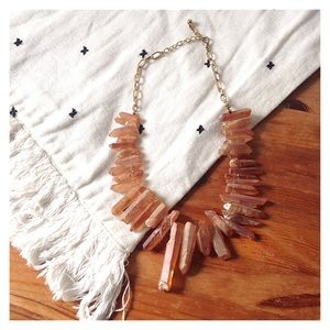 Rose Gold Oversized Stone Quartz Bib Necklace